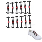 Horn-Shaped Cat Eye Silicone No Tie Lazy Shoelaces - Black (12 PCS)