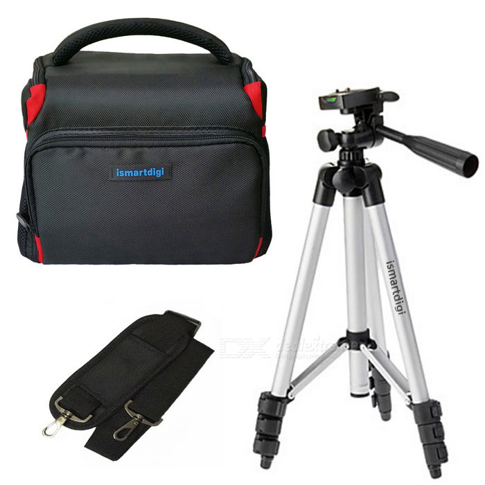 ismartdigi i-106 RD Camera Case + Tripod Set for DSLR DV - Black + Red
