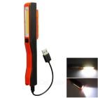 USB COB Working Light 2-Mode Flashlight for Indoor / Outdoor - Black