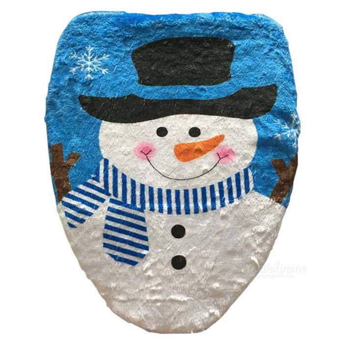 Snowman Bathroom Toilet Seat Cover for New Year Xmas Decoration - Blue