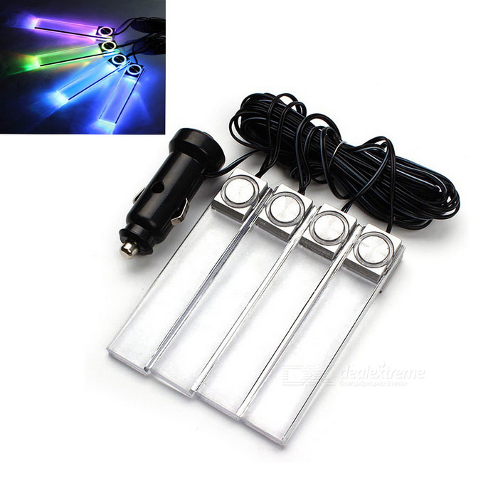 ZIQIAO 4-In-1 12V Car Atmosphere Lamp LED Interior Floor Decor Light