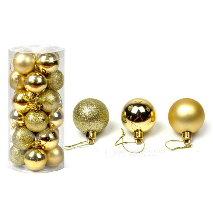 Bright Plated Plastic Balls for Christmas Tree Decoration - Gold