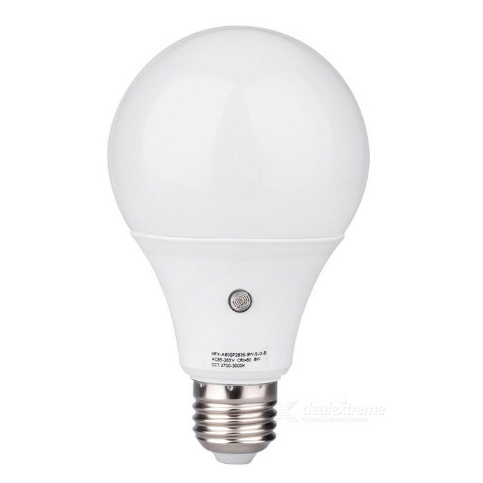 MIFXION 9W E27 SMD5730 Aluminum Warm White Light Sensor LED Bulb LightE27<br>Color BINWarm WhiteMaterialPlastic + aluminum+ PCForm  ColorWhiteQuantity1 DX.PCM.Model.AttributeModel.UnitPower9WRated VoltageAC 85-265 DX.PCM.Model.AttributeModel.UnitConnector TypeE27Emitter TypeOthers,SMD 5730Total Emitters18Theoretical Lumens810 DX.PCM.Model.AttributeModel.UnitActual Lumens800 DX.PCM.Model.AttributeModel.UnitColor Temperature3000KDimmableNoBeam Angle270 DX.PCM.Model.AttributeModel.UnitCertificationCE, RoHSOther FeaturesProtection Class: IP50 ;<br>Color Rendering Index: About 80 Ra; Working Lifetime(Hour): 30000 Hours; Scope:indoor and outdoor <br>LIGHT SENSOR<br>ON IF 15LUX<br>OFF IF 20LUXPacking List1 * Bulb light (in a white box)<br>