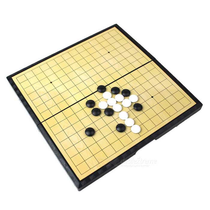 Portable Magnetic Foldable Gobang Playing Board Set- Yellow + Black