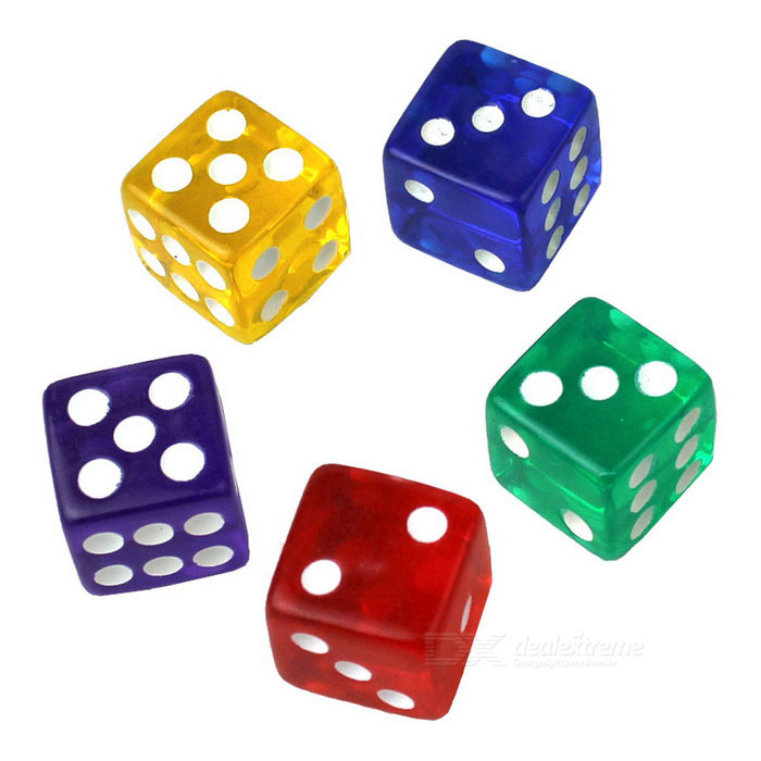 16mm Acrylic Dice Set - Red + Multicolor (5 PCS)Table Games<br>Form  ColorRoyal Blue + Red + Multi-ColoredMaterialAcrylicQuantity1 DX.PCM.Model.AttributeModel.UnitMin-player1Max-player10Suitable Age 5-7 years,8-11 years,12-15 years,Grown upsPacking List5 * Dice<br>