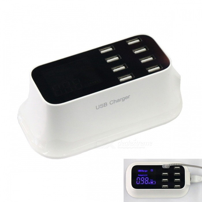 40W AC 100~240V 8 USB 8A Intelligent Power Socket w/ Display (US Plugs)Plugs &amp; Sockets<br>Form  ColorWhite + BlackQuantity1 DX.PCM.Model.AttributeModel.UnitMaterialABS plasticFireproof MaterialNoRate VoltageAC 100~240V; 50/60Hz.Rated Current8 DX.PCM.Model.AttributeModel.UnitRated Power40 DX.PCM.Model.AttributeModel.UnitCompatible PlugOthers,USBGroundingNoOutlet8 DX.PCM.Model.AttributeModel.UnitWith Switch ControlNoSurge Protection FunctionYesLightning Protection FunctionYesWith FuseYesCable Length1.5 DX.PCM.Model.AttributeModel.UnitPower AdapterUS PlugPacking List1 * Charger1 * Charging cable<br>