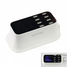 40W AC 100~240V 8 USB 8A Intelligent Power Socket w/ Display (US Plug)