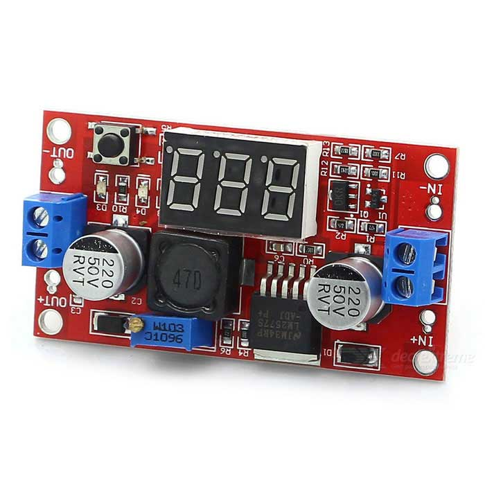 KEYES LM2577 3A DC-DC Boost Voltage Module w/ Digital Display - RedPower Module<br>Form  ColorRedModel-Quantity1 DX.PCM.Model.AttributeModel.UnitMaterialFR4Input Voltage3~34 DX.PCM.Model.AttributeModel.UnitOutput Voltage4~25 DX.PCM.Model.AttributeModel.UnitMax. Output Current2.5 DX.PCM.Model.AttributeModel.UnitEnglish Manual / SpecNoOther FeaturesParameter<br><br>Module naturenon-isolated boost voltage module<br><br>Input voltage: 3~34V<br><br>Output voltage adjustable serially: 4~35V<br><br>Output current: Max.2.5A<br><br>Input current: Max.3A<br><br>Module size: 49(mm) * 26(mm)<br><br>Input modeI: N + input active, IN-input passive<br><br>Output mode: OUT + output active, OUT-out: put passive<br><br>Modulation mode: first, input correctly power supply (among 3~34V), and then use multimeter to monitor output voltage and adjust potentiometer.<br>Output voltage: 4~35V adjustable seriallyPacking List1 * Module<br>