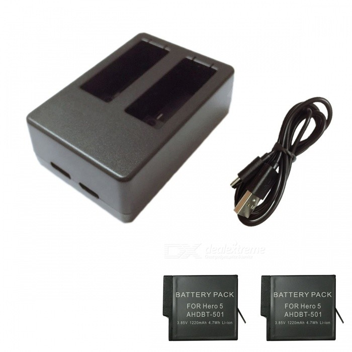 Ismartdigi 3.85V 1220mAh Camera Batteries + Dual USB Charger - Black