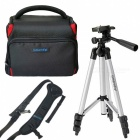 Ismartdigi i-106 RD Camera Case + Tripod + Speed Strap - Black + Red