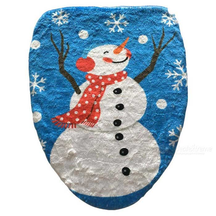 Snowman Bathroom Toilet Seat Cover for New Year Xmas Decoration