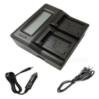 Ismartdigi FW50 LCD Dual Charger w/ Car Charge Cable for Sony - Black