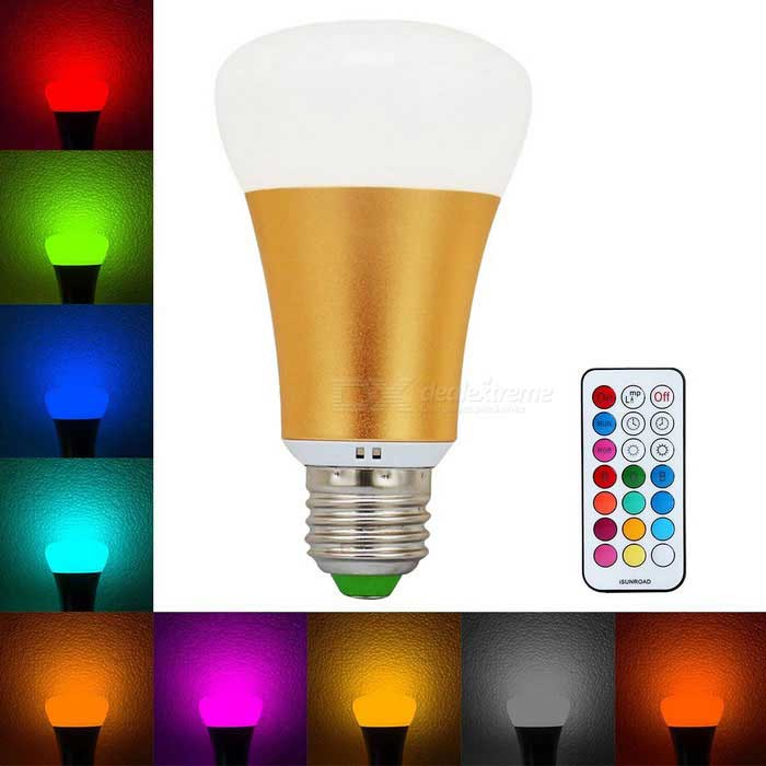 KWB 10W E27 RGB + Neutral White LED Bulb Color Changing Light - Gold