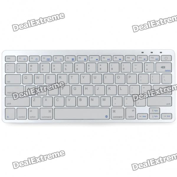 81-Key Slim Portable Rechargeable Bluetooth Wireless Keyboard - White