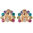 Peacock Style Shining Rhinestones Decorated Earrings - Gold (Pair)