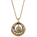 Round Shaped Pendant Zinc Alloy Chain Necklace for Women - Bronze