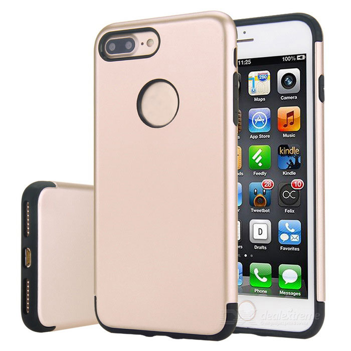 Premium dual layer PC + TPU caso para iphone 7 PLUS - preto + ouro