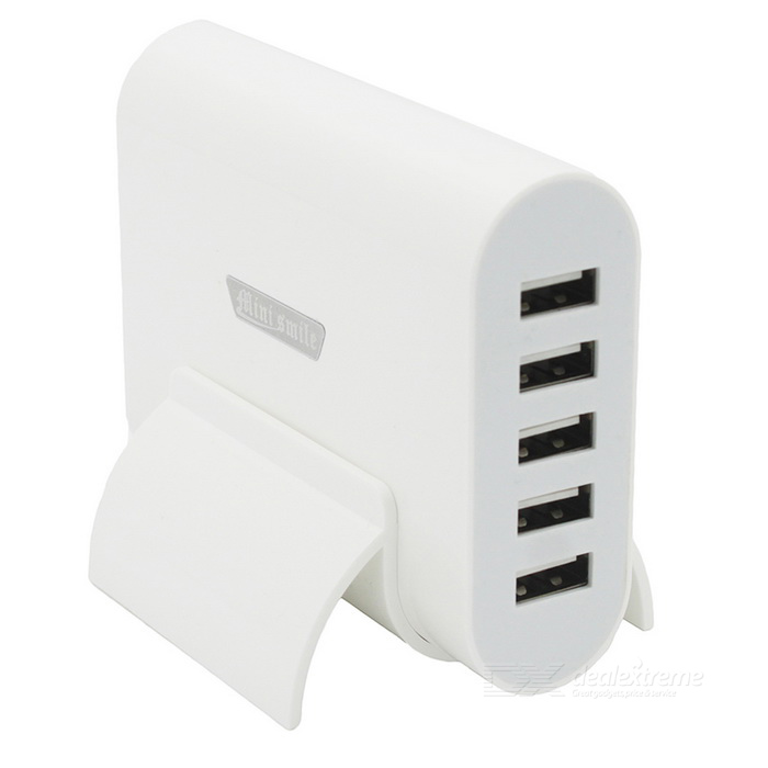Mini Smile Universal 20W 5-USB Port 5V 4A Charger w/ Holder - WhiteAC Chargers<br>Form  ColorWhite (EU Plug)ModelN/AMaterialABSQuantity1 DX.PCM.Model.AttributeModel.UnitCompatible ModelsUniversalInput Voltage100~240 DX.PCM.Model.AttributeModel.UnitOutput Current5-USB Port 0.8 DX.PCM.Model.AttributeModel.UnitOutput Power20 DX.PCM.Model.AttributeModel.UnitOutput Voltage5 DX.PCM.Model.AttributeModel.UnitSplit adapter number5Power AdapterEU PlugLED IndicatorNoCable Length150 DX.PCM.Model.AttributeModel.UnitPacking List1 * Charger1 * EU plug power cord (150cm)1 * Holder<br>