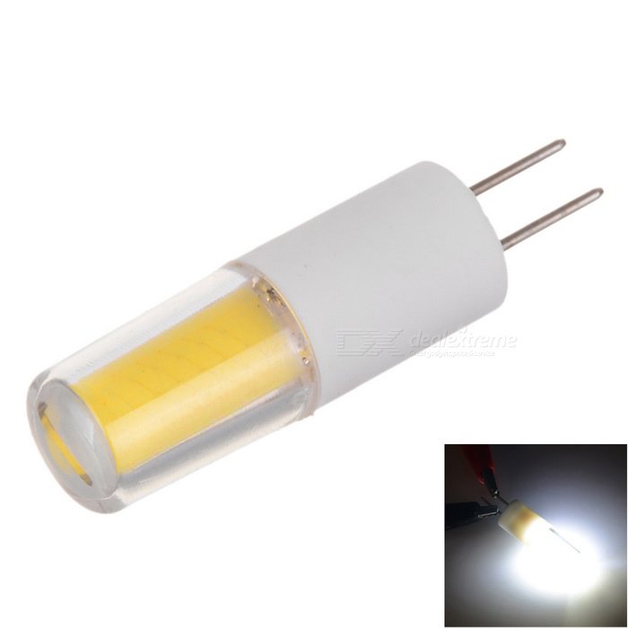 Marsing G4 2W 200lm COB LED Cold White Light Ceramic Bulb (AC/ DC 12V)G4<br>Color BINCool WhiteMaterialCeramicForm  ColorWhite + Yellow + Multi-ColoredQuantity1 DX.PCM.Model.AttributeModel.UnitPower2WRated VoltageOthers,AC/DC 12 DX.PCM.Model.AttributeModel.UnitConnector TypeG4Emitter TypeCOBTotal Emitters1Actual Lumens150~200 DX.PCM.Model.AttributeModel.UnitColor Temperature6000KDimmableNoBeam Angle360 DX.PCM.Model.AttributeModel.UnitCertificationCE, RoHSPacking List1 * LED Bulb<br>