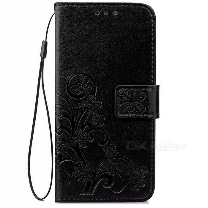 PU Leather Wallet Case w/ Card Slots, Stand for Google Pixel - Black
