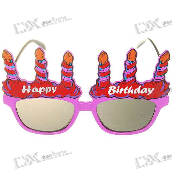 Decorative UV400 Protection Happy Birthday Glasses (Color Assorted)