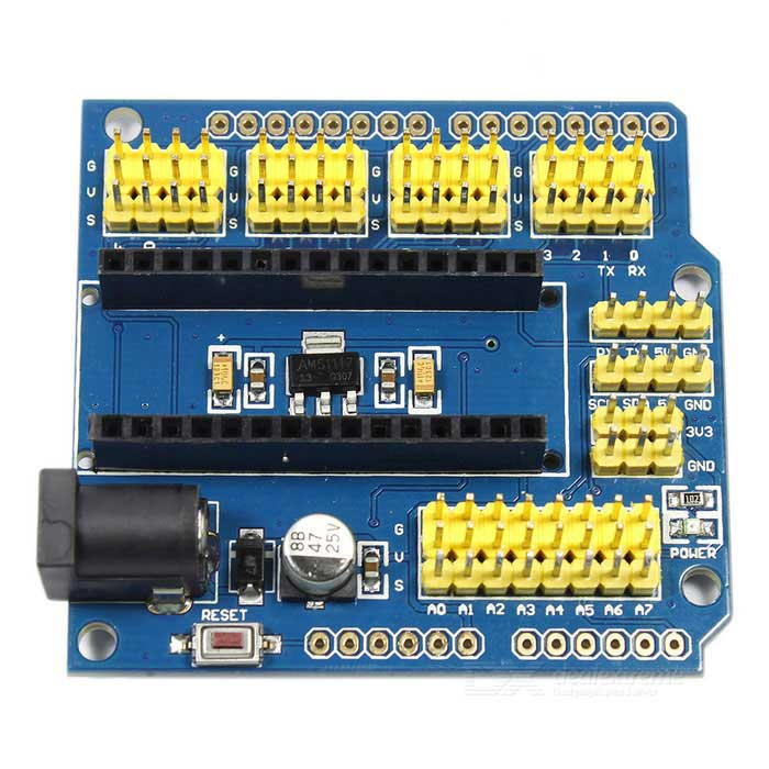 Nano V3.0 Shield UNO Shield Expansion Board for Arduino - Blue +YellowOther Accessories<br>Form  ColorBlue + Yellow + Multi-ColoredModelN/AQuantity1 DX.PCM.Model.AttributeModel.UnitMaterialPCB + electronic componentsEnglish Manual / SpecNoDownload Link   NoPacking List1 * Expansion board<br>