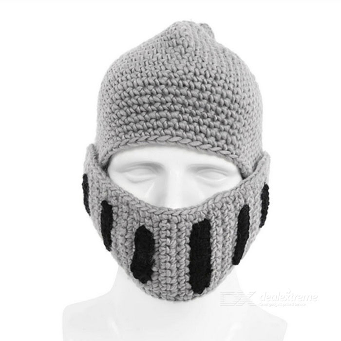 Friluftsliv Creative Beard Wool Mask Roman Knight Hat - Ljusgrå