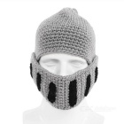 Outdoor Sports Creative Beard Wool Mask Roman Knight Hat - Light Gray