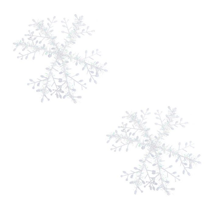 3D ABS Snowflakes for Christmas Decoration - White (2 PCS / 23cm)