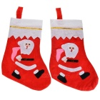 Santa Claus Wearing Bag Pattern Decorative Socks / Gift Pocket Bags for Store Window - Red + Pink