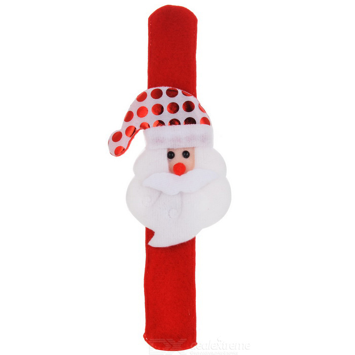 Christmas Santa Claus Patting Circle Hand Belt Bracelet - White + Red