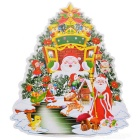 3D Merry Christmas Tree Decorative Stickers - Red + Green (35 * 28cm)