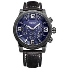MEGIR 3010 Men's Quartz Analog Wrist Watch - Black + Deep Blue