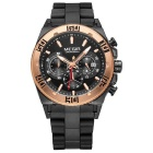 MEGIR 3009 Men's Quartz Analog Wrist Watch - Black + Rose Golden