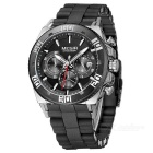 MEGIR 3009 Men's Quartz Analog Wrist Watch - Black + Silver
