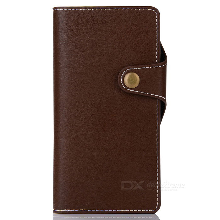 Cow Split Leather Case w/ Card Slots for Sony Xperia XZ -Reddish Brown