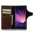 Cow Split Leather Case w/ Card Slots for Sony Xperia XZ - Deep Brown