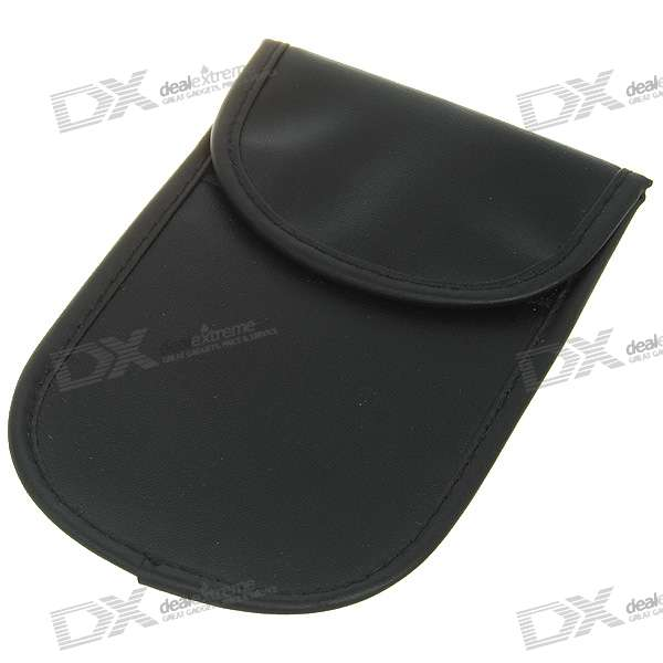 Cell Phone Signal Shield/Block Soft Leather Pouch - Black