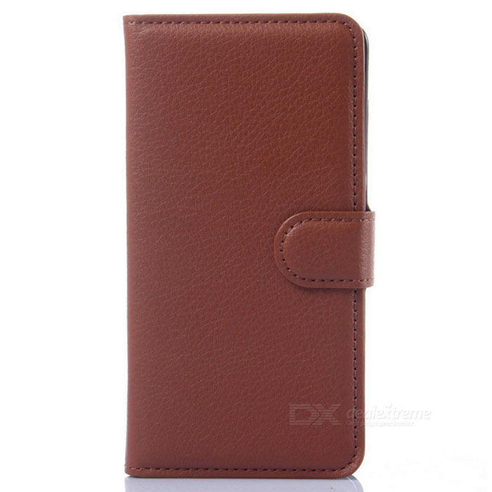 Lichee Pattern Flip-Open PU Leather Case for Xiaomi Mi 4 - Brown