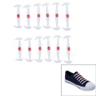 Horn-Shaped Cat Eye Silicone No Tie Lazy Shoelaces - White (12 PCS)
