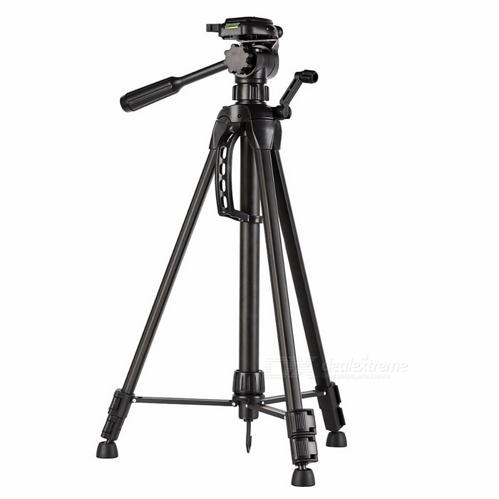 Tripod Stand w/ 3 Way Pan Head for DSLR Cameras - BlackBinoculars And Telescopes<br>Form  ColorBlackQuantity1 DX.PCM.Model.AttributeModel.UnitMaterialAluminum alloyBest UseFamily &amp; car camping,Camping,Travel,OthersFeatureOthersMagnificationOthersObjective DiameterNoEye ReliefNoPacking List1 * Aluminum Tripod1 * Protable Carrying Bag1 * Chinese User Manual<br>