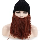 Creative Personality Big Beard + Knitted Hat for Winter - Black+ Brown