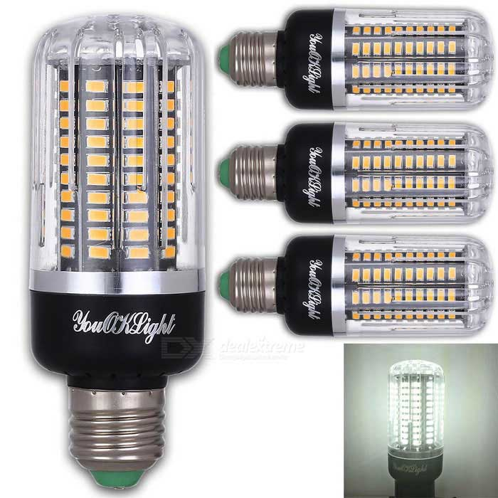 YouOKLight E27 12W 120 SMD-5736 LED Cold White Corn Bulbs (4 Pcs)
