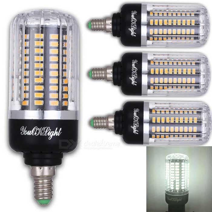 YouOKLight E12 12W 120 SMD-5736 LED Cold White Corn Bulbs (4Pcs)