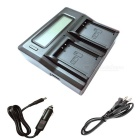LCD Dual Charger w/ Car Charge Cable for Canon LP-E10 EOS 1100D T3 KISS X50 1200D Batteries, US Plugs