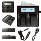 Ismartdigi BLN1 LCD Dual Battery Charger for Olympus BLN-1 - Black