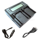 Ismartdigi BLS5 LCD Dual Slot Battery Charger for Olympus BL-S5 -Black