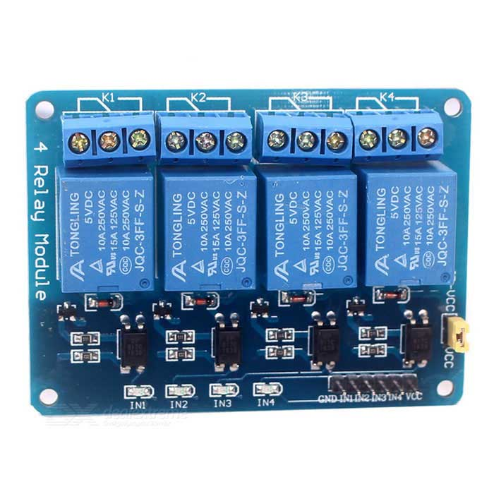4-Channel 5V 12V Relay Module w/ Optocoupler - Blue (Expanded Version)Relays <br>Form  ColorBlueModel-Quantity1 DX.PCM.Model.AttributeModel.UnitMaterialPCB + electronic componentsMax. Load10 AInput VoltageDC 5 DX.PCM.Model.AttributeModel.UnitTrigger Current10 AEnglish Manual / SpecNoDownload Link   NoPacking List1 * 4-Channel Relay Module<br>