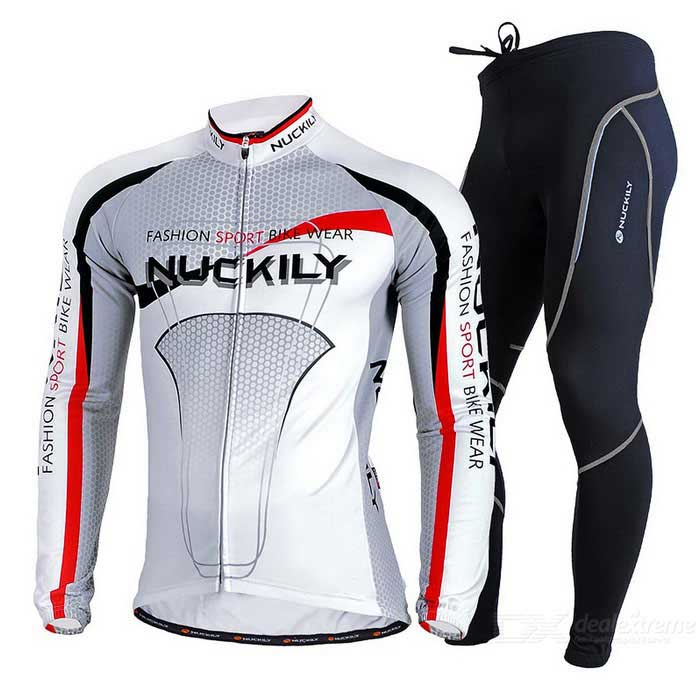 Nuckily Men's Fleece Long-Sleeve Jersey + Pants Set - Grey + White