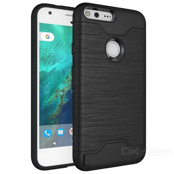 Shock-proof Back Case w/ Holder and Slot for Google Pixel - Black
